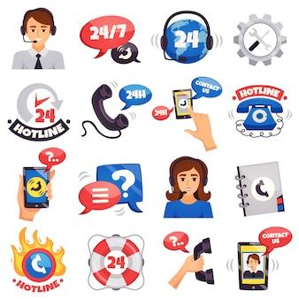 Coleção de ícones coloridos de call center