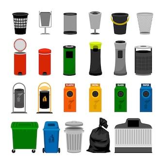 Coleção de ícones coloridos de latas de lixo, em branco