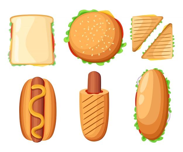 Coleção de ícones coloridos de menu de restaurante de fast food com cachorro-quente pizza frango coxinhas ketchup e ilustração de milkshake página da web e elemento de aplicativo móvel.
