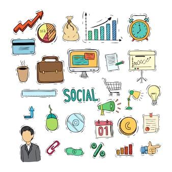 Coleção de ícones coloridos de negócios com estilo doodle colorido