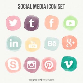 Coleção de ícones da aguarela de mídia social