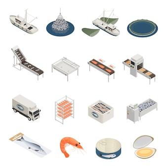 Coleção de ícones da indústria de peixe