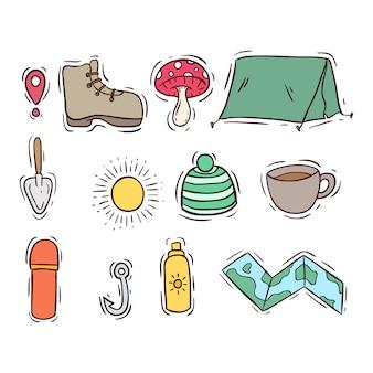 Coleção de ícones de acampamento de verão com estilo colorido