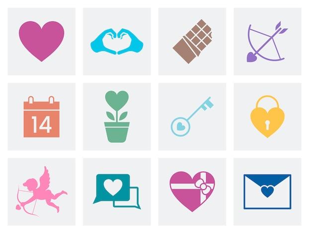 Coleção de ícones de amor dia dos namorados