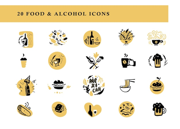 Coleção de ícones de amplificador de arranjos de comida e álcool definidos isolados no fundo branco elementos de bebida de prato desenhado à mão bom para restaurante café catering bar amp fast food insignia banner