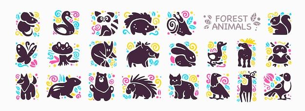 Coleção de ícones de animais fofos isolados no fundo branco.