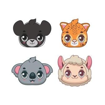 Coleção de ícones de animais selvagens bonitos dos desenhos animados