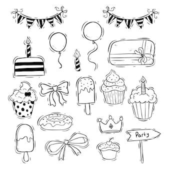 Coleção de ícones de aniversário com bolo do copo, sorvete e balão