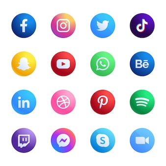 Coleção de ícones de aplicativos móveis diferentes