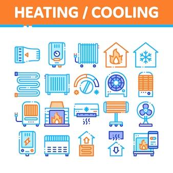 Coleção de ícones de aquecimento e resfriamento