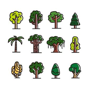 Coleção de ícones de árvore desenhada à mão