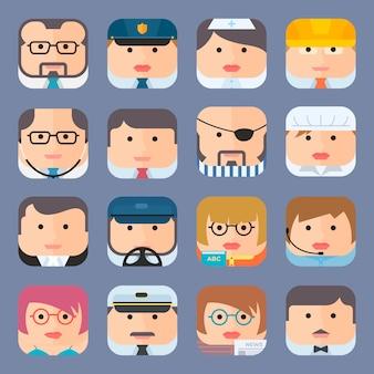 Coleção de ícones de avatar profissional