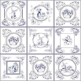 Coleção de ícones de azulejos famosos delft azul