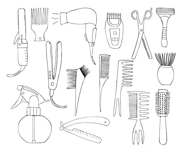 Coleção de ícones de barbeiro do doodle. mão-extraídas coleção de ilustrações de cabeleireiro em vetor.