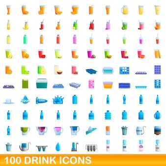 Coleção de ícones de bebidas isoladas em branco