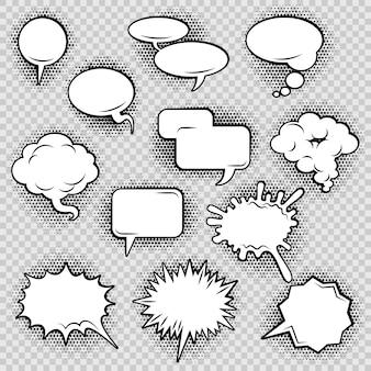 Coleção de ícones de bolhas de discurso em quadrinhos de retângulo oval de nuvem e forma irregular