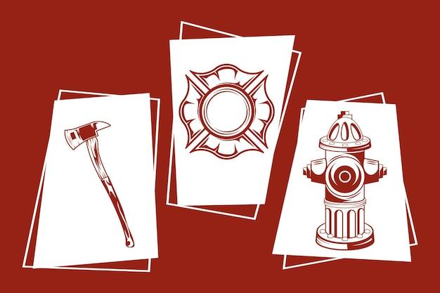 Coleção de ícones de bombeiro