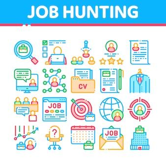 Coleção de ícones de caça de emprego