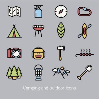 Coleção de ícones de camping