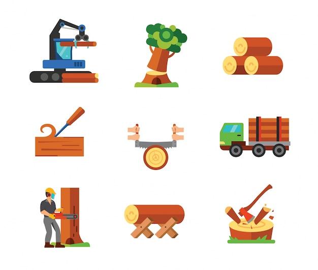 Coleção de ícones de carpintaria