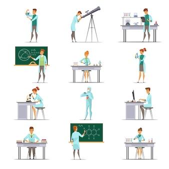 Coleção de ícones de cartoon retrô de pesquisadores de pesquisadores de laboratório científico