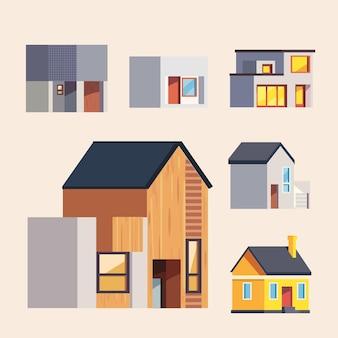 Coleção de ícones de casas e edifícios