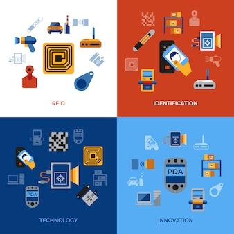 Coleção de ícones de chip de identificação de freqüência de rádio