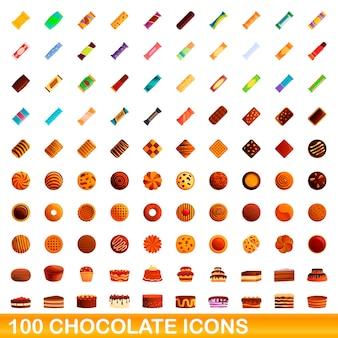 Coleção de ícones de chocolate isolado no branco