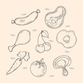 Coleção de ícones de comida e comida