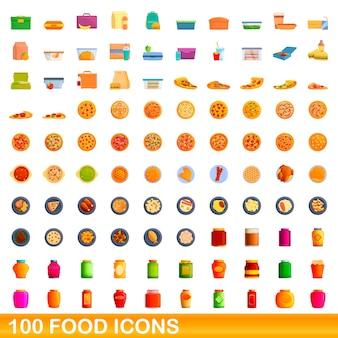 Coleção de ícones de comida isolada no branco