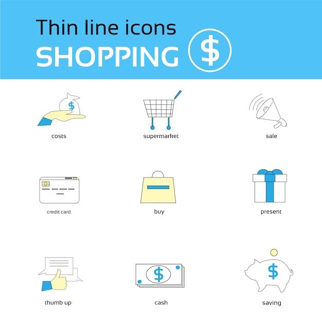 Coleção de ícones de compras linha fina