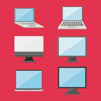 Coleção de ícones de computadores digitais e laptops