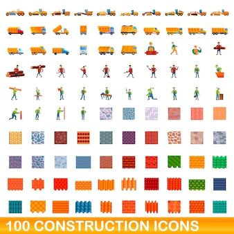 Coleção de ícones de construção isolados no branco