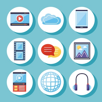 Coleção de ícones de conteúdo multimídia