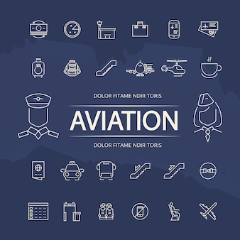 Coleção de ícones de contorno de aviação