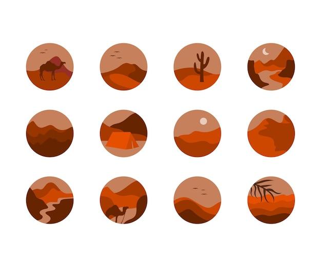 Coleção de ícones de deserto para capa de destaques do instagram