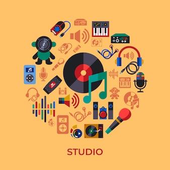 Coleção de ícones de design de som e música