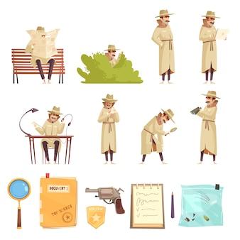 Coleção de ícones de detetive particular dos desenhos animados
