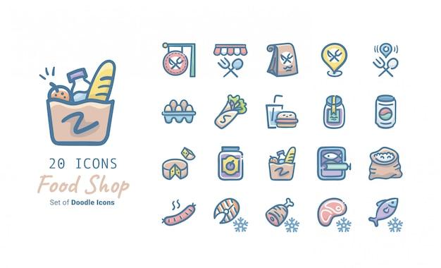 Coleção de ícones de doodle de loja de comida
