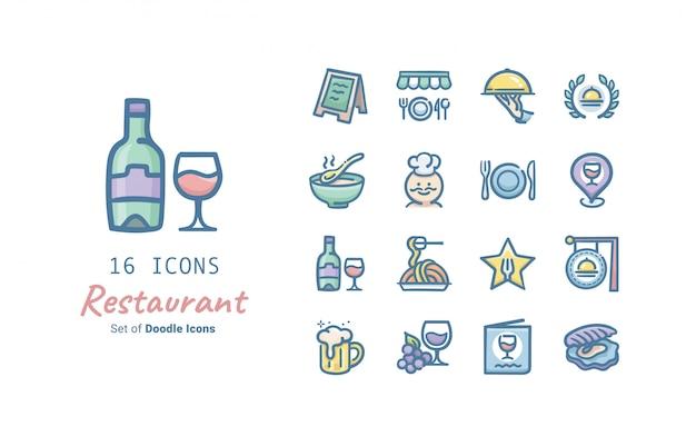 Coleção de ícones de doodle de restaurante