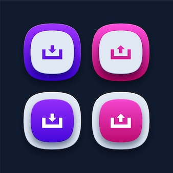 Coleção de ícones de download e upload