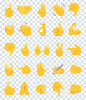 Coleção de ícones de emojis de gesto de mão.