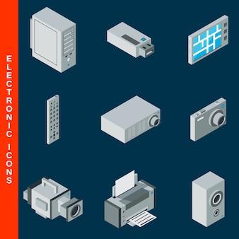 Coleção de ícones de equipamento eletrônico plana 3d isométrica