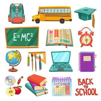 Coleção de ícones de escola e educação
