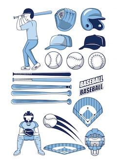 Coleção de ícones de esporte de beisebol