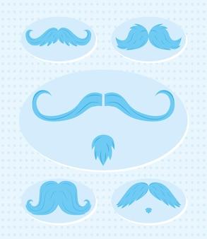 Coleção de ícones de estilos de bigode