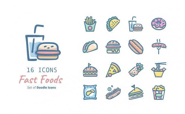 Coleção de ícones de fast-food doodle