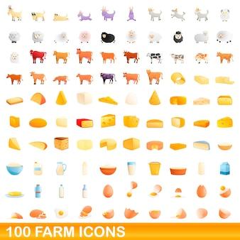 Coleção de ícones de fazenda isolada no branco
