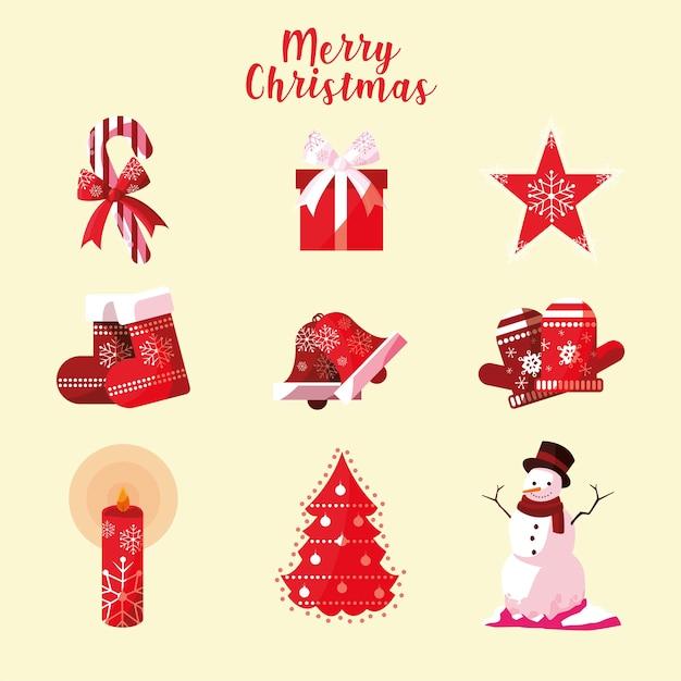 Coleção de ícones de feliz natal doce chapéu estrela meia sino árvore ilustração