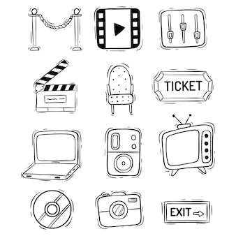 Coleção de ícones de filme ou filme com estilo doodle